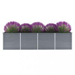 szürke horganyzott acél kerti magaságyás 320 x 80 x 77 cm
