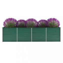 zöld horganyzott acél kerti magaságyás 320 x 80 x 77 cm