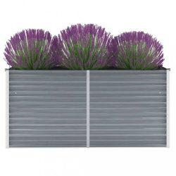 szürke horganyzott acél kerti magaságyás 160 x 40 x 77 cm