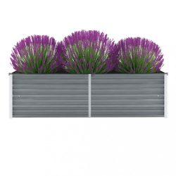 szürke horganyzott acél kerti magaságyás 160 x 40 x 45 cm