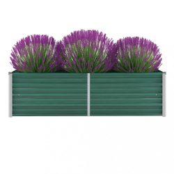 zöld horganyzott acél kerti magaságyás 160 x 40 x 45 cm