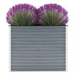szürke horganyzott acél kerti magaságyás 100 x 40 x 77 cm