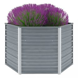szürke horganyzott acél kerti magaságyás 129 x 129 x 77 cm