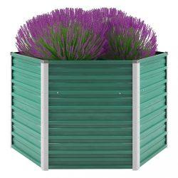 zöld horganyzott acél kerti magaságyás 129 x 129 x 77 cm