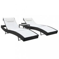 2 db fekete polyrattan és textilén napozóágy asztallal