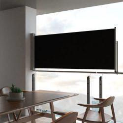 fekete behúzható oldalsó terasz napellenző 100 x 300 cm