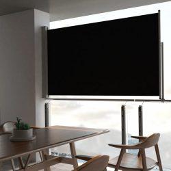 fekete behúzható oldalsó terasz napellenző 140 x 300 cm