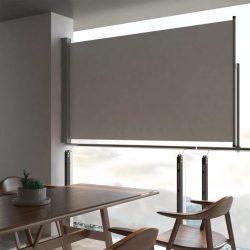 szürke behúzható oldalsó terasz napellenző 140 x 300 cm