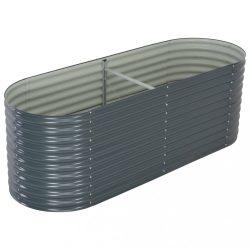 szürke horganyzott acél kerti magaságyás 240 x 80 x 81 cm