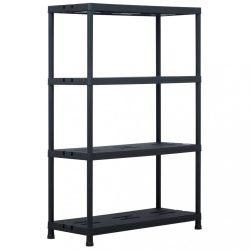 fekete műanyag tároló polc 220 kg 90 x 40 x 138 cm