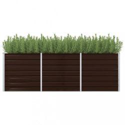 barna horganyzott acél kerti magaságyás 240 x 80 x 77 cm