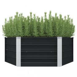 antracitszürke horganyzott acél kerti magaságyás 129x129x45 cm