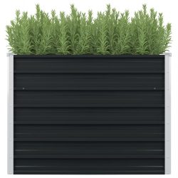antracitszürke horganyzott acél kerti magaságyás 100x100x77 cm