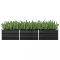 antracitszürke horganyzott acél kerti magaságyás 240x80x45 cm