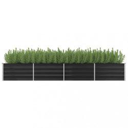 antracitszürke horganyzott acél kerti magaságyás 320x80x45 cm