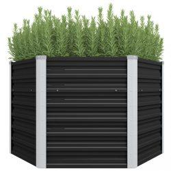 antracitszürke horganyzott acél kerti magaságyás 129x129x77 cm