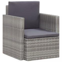 szürke polyrattan kerti szék párnákkal