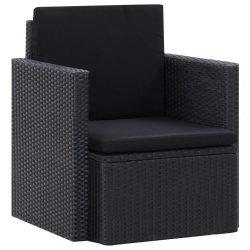 fekete polyrattan kerti szék párnákkal