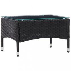 fekete polyrattan dohányzóasztal 60 x 40 x 36 cm