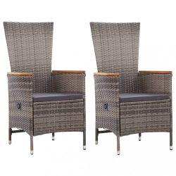2 db szürke polyrattan kültéri szék párnával