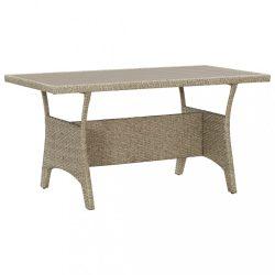 szürke polyrattan kerti asztal 130 x 70 x 66 cm