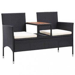 2 személyes fekete polyrattan kerti pad teázóasztallal 143 cm