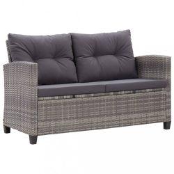 kétszemélyes szürke polyrattan kerti kanapé párnákkal 124 cm