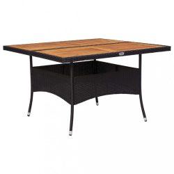 fekete polyrattan és tömör akácfa kültéri étkezőasztal