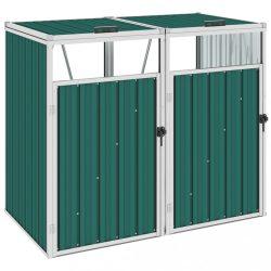 zöld acél kukatároló 2 db kukához 143 x 81 x 121 cm