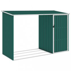 zöld horganyzott acél kerti tűzifatároló 245 x 98 x 159 cm