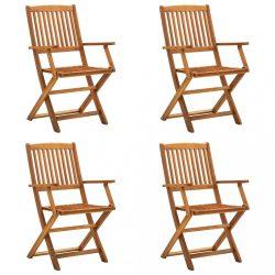 4 db összecsukható tömör akácfa kültéri szék