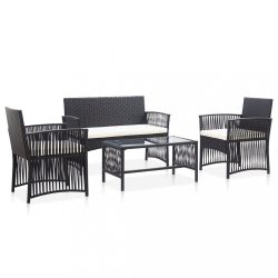 4-részes fekete kerti polyrattan bútorszett párnákkal