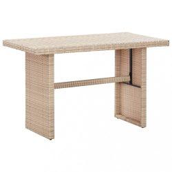 bézs polyrattan kerti asztal 110 x 60 x 67 cm