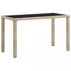 bézs polyrattan kerti asztal 123 x 60 x 74 cm