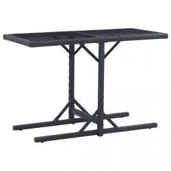 fekete polyrattan és üveglapos kerti asztal 110 x 53 x 72 cm