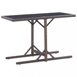 barna polyrattan és üveglapos kerti asztal 110 x 53 x 72 cm