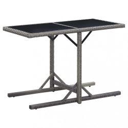 antracitszürke polyrattan és üveglapos kerti asztal 110x53x72cm