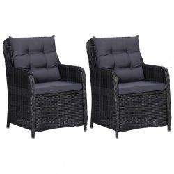 2 db fekete polyrattan kerti szék párnával