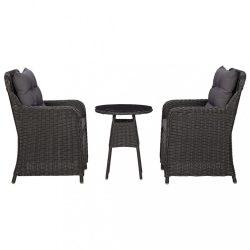 2 db fekete polyrattan kerti szék teázóasztallal