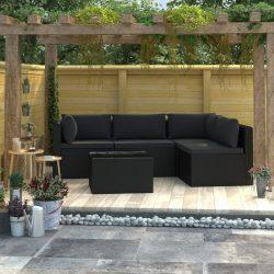 5 részes fekete polyrattan kerti társalgószett párnákkal