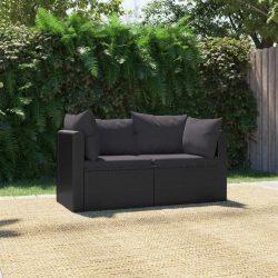 2-részes fekete polyrattan kerti ülőgarnitúra párnákkal