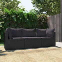 3 darabos fekete polyrattan kerti ülőgarnitúra párnákkal