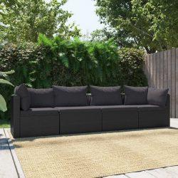 4-részes fekete polyrattan kerti ülőgarnitúra párnákkal