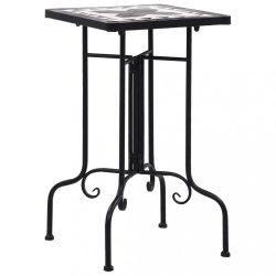 fekete és fehér kerámia mozaikos kisasztal