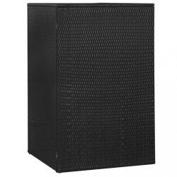 fekete polyrattan gurítható kukatároló 1 db kukához 76x78x120cm