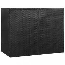 fekete polyrattan kukatároló 2 db kerekes kukához 153x78x120 cm