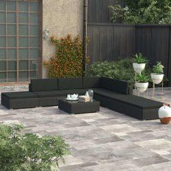 8-részes fekete polyrattan kerti bútorszett párnákkal