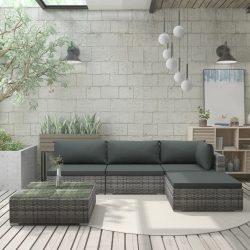 5-részes szürke polyrattan kerti bútorszett párnákkal