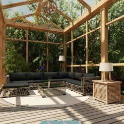 8-részes szürke polyrattan kerti bútorszett párnákkal