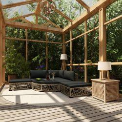 6-részes szürke polyrattan kerti bútorszett párnákkal